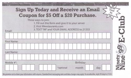 99 Restaurant Loyalty Coupon Form0001