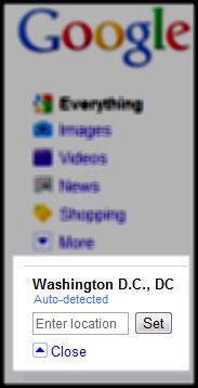 Google Search Location Control